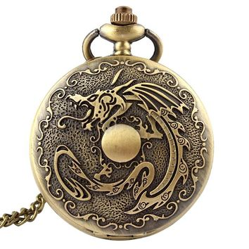 Retro Antique Fullmetal Alchemist Pocket Watch Dragon Bronze Deadpool Necklace Chain Vintage Quartz Pocket Fob Watches Men 2017