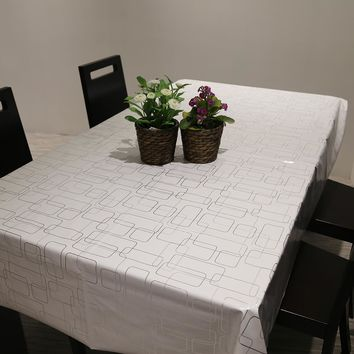 PVC Simple Modern Table Cloth Waterproof Oil Resistance Non Wash Tablecloth Party Wedding Home Kitchen Dining Placemat Pad