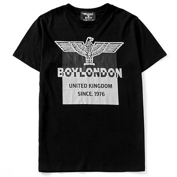 BOY LONDON 2019 new hot stamping letter eagle printing round neck half sleeve shirt Gold