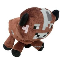 Licensed cool NEW Minecraft Overworld Brown Baby Cow Animal Plush Doll Bean Bag Toy Licensed