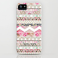 Spring Time! | Girly Pink White Floral Abstract Aztec Pattern iPhone & iPod Case by Girly Trend