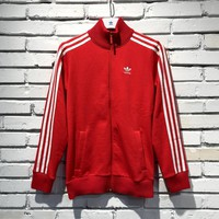adidas Originals Women Red Three Stripe Track Jacket |