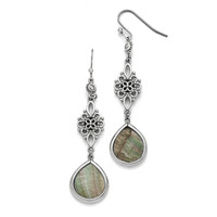 Stainless Steel Polished Black Mother of Pearl/CZ Dangle Earrings SRE744