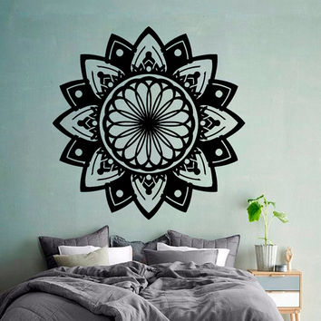 Flower Wall Decals Indian Mandala Pattern Yoga Gym Decor Amulet Protection Decal Home Vinyl Decal Sticker Kids Nursery Baby Room Decor kk758