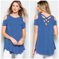 Cold Shoulder Strappy Back Top in Blue