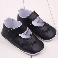 Newborn 0-12 Months Baby Girls PU Leather Shoes Princess Flower Crib Outdoor Kids ShoesSM6
