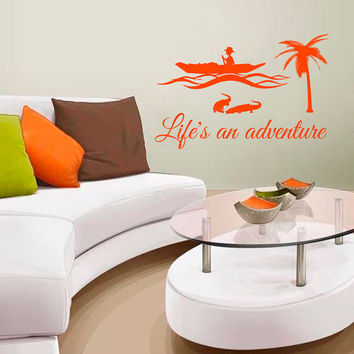 Wall Decals Life's an Adventure Quotes People Travel Countries Asia Jungle River Boat Any Room Vinyl Decal Sticker Home Decor Murals  ML137