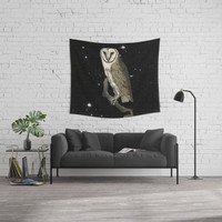 Owl in the Universe Wall Tapestry by anipani