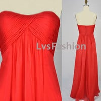 Strapless Sweetheart Long Red Chiffon Bridesmaid by LvsFashion