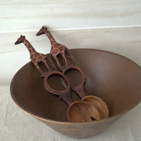 Fun Tribal Wooden Salad Serving Utensils