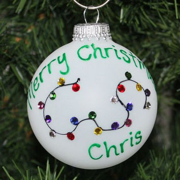 Handpainted Christmas Lights Personalized Ornament the Lights are made using Swarovski Rhinestones - Made to Order