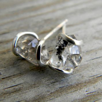 Herkimer Diamond and Recycled Sterling Silver Post Stud Earrings