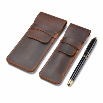 Handmade Genuine Leather Pen Bag Cowhide Pencil Bag Vintage Retro Style Accessories For Traveler's Notebook Free shipping