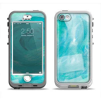 The Subtle Teal Watercolor Apple iPhone 5-5s LifeProof Nuud Case Skin Set