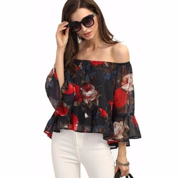Spring Autumn Off Shoulder Peplum Women Blouse Feminine Shirt Femininas Ruffle Boho Top Clothing Clothes Female Femme Lady Tunic