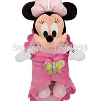 Mickey Minnie Toys Babies Plush Baby Minnie Pelucia Pink Butterfly Swaddle Blanket Cute Stuffed Animals Soft Kids Dolls