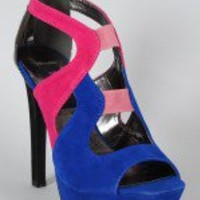 Maiden-S Cut-Out Colorblock Platform Sandal