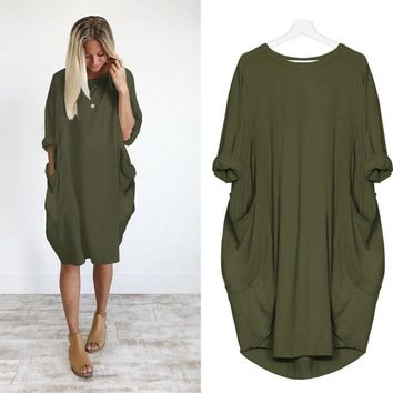 Half Sleeve Roomy Side Pocket T Shirt Dress