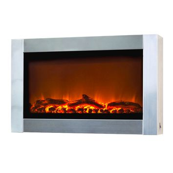 Fire Sense Wall Mounted Electric Fireplace - Stainless Steel (#60758)