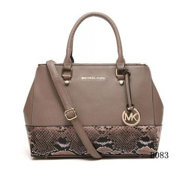 DCCKNQ2 Michael Kors MK Leather Snake Print Handbag Tote Shoulder Bag Satchel-3