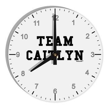 "Team Caitlyn 8"" Round Wall Clock with Numbers"