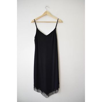 Vintage Black Fringe Cocktail Dress