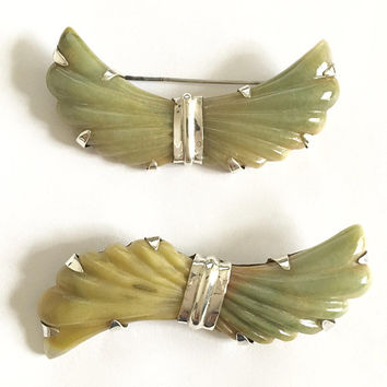 Vintage Set of Two Carved Jade Bow Brooches set in Sterling Silver marked Mexico, Larger Bow Tie Pins