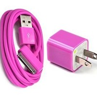 Bluecell Hot Pink AC US Wall Charger + 6 ft feet USB Sync Data Cable for Iphone 4/4S/3g/3gs Ipod