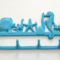 Coral Reef Towel Hanger, Sea Life Bathroom Decor, Teal Jewelry Display, Beach House Key Hook