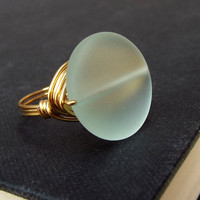 Aqua Sea Glass Statement Ring:  24K Gold Wire Wrapped Ring, Mint Green Large Stone Beach Jewelry, Size 6