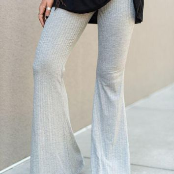 Cher Ribbed Flare Pants - Gray