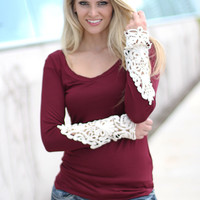 Wine Top With Crochet Sleeves