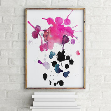 "Watercolor Painting""ABSTRACT""Wall Art,Home Decor,Apartment Decor,ABSTRACT art print,Instant Download,Wall Decor,Pink Abstract"