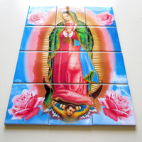 Our Lady of Guadalupe Mosaic Ceramic Tiles cm 30 x cm 40 (12 tiles) Hand made in Italy Nuestra Señora Holy Art Catholic Icon
