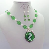 Seahorse Sea Glass Jade Necklace Earrings Set