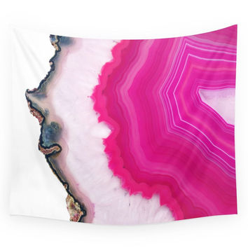 Society6 Pink Agate Slice Wall Tapestry