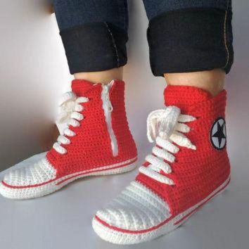 CREYUG7 Red Converse Slippers, Crochet Red Converse. Women and Man Converse Shoes. Booties, Cr