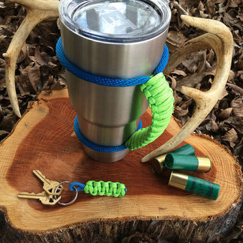 Paracord Yeti Rambler Handle Grip for 20 or 30 oz.  Neon Green with free matching keychain