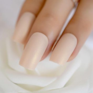 Iridescent White Instant Fake Nails Matte Nude Square Fake Nails Ladies Slim Long Designed Artifical Nail Tips Choose