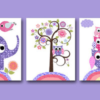 Owl Decor Owl Nursery Baby Girl Nursery Art Nursery Wall Art Baby Nursery Kid Room Decor Kids Art set of 3 8x10 Elephant Nursery Rose Purple