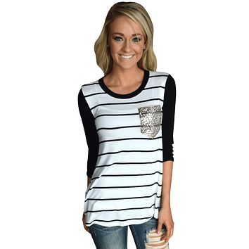 Chicloth White Black Stripe Sequin Pocket Top