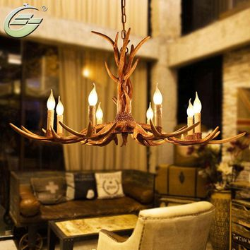 Creative 6 Heads Chandelier Candle Antler Wooden Deer Horn