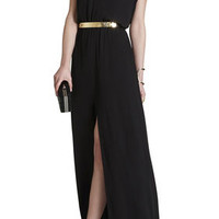 BCBG Raymee Sleeveless Draped Waist-Tie Maxi Dress