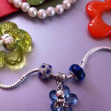 Build your Pandora Bracelet European Charms Teddy Bear Trio Set Crystal Sapphire Inspi