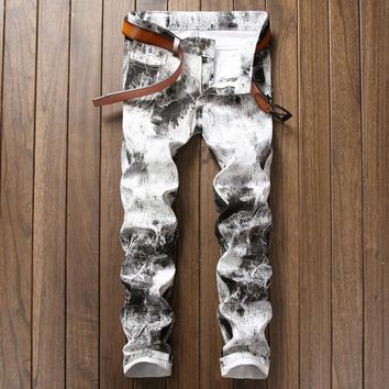 europen American fashion brand Men's casual jeans Straight luxury Print slim trousers cotton Painted sexy white jeans for men