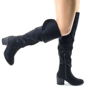 Louie03 Black Faux Suede Faux Suede Thigh High Over Knee Boots w Block Heel & Foldable