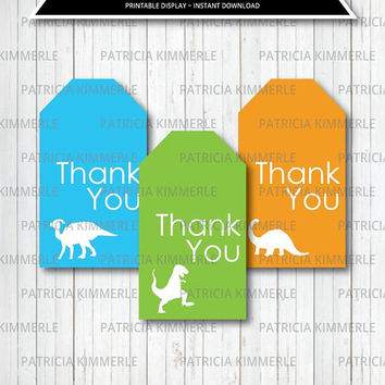 Printable Thank You Tag, Dinosaur Party, reptiles, Roar, Boy Birthday, Green, Blue, Dino, Diy, T-Rex,Favor Tags, Thank You, Loot Bag Tag