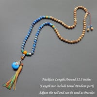 Blue Natural Imperial Stone tassel necklace Mala bead necklace boho  jewelry long necklace