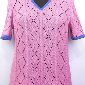 Knitted summer t-shirt with lace and aran