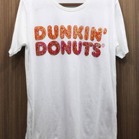 DUNKIN DONUT T Shirts shortsleeve Top handmade crystal seed beads sequins sew fix